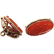 Antique Victorian Gold Filled Watch Fob With Molded Carnelian Glass