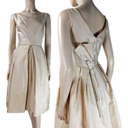1950's Sleeveless Cotton Party Dress With Bow