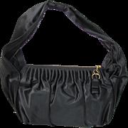 1940's Vintage Black Satin Purse / Evening Bag