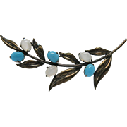Vintage Sterling Silver Foliate Brooch With Turquoise And Moonstone Glass Cabochons
