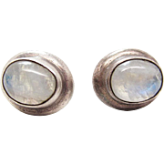 Vintage Sterling Silver Rainbow Moonstone Post Earrings