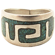 Mexican Vintage Sterling Silver Modernist Turquoise Chip Inlay Ring Size 9 1/4