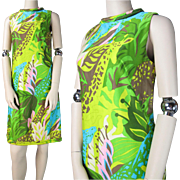 Mod 1960's Vintage Dorothy Cox Tanner Of North Carolina Dress In Jungle Print With ...