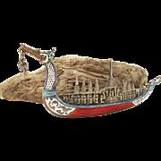 Vintage Sterling Silver Siam Enameled Dragon Boat Brooch