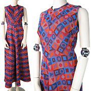 Vintage 1970's Double Knit Polyester Maxi Dress With Graphic Geometric Designs