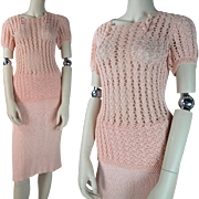 Vintage 1930's Knit Skirt And Crocheted Blouse Ensemble