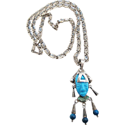 Vintage Taxco Mexican Sterling Silver Turquoise Azurite And Malachite Mask Pendant On A 24 Inc