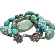 Vintage Three - Strand Chinese Turquoise Bracelet With Sterling Silver Floral Clasp