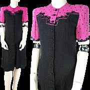 Vintage 1940's Color Block Crepe Dress With Sequins