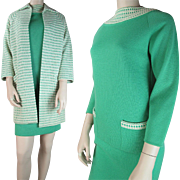 1960's Vintage Three - Piece Knit Wool Skirt Sweater And Coat Ensemble With Cadillac Lable