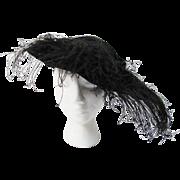 Antique Edwardian Black Velvet Hat With Plumes And Lamé