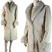 1970's Long Suede Leather Shearling Coat With Faux Fur Collar And Trim