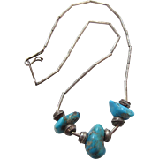 Vintage Native American Liquid Silver Turquoise Choker Length Necklace