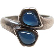 Vintage Sterling Silver Chalcedony Glass Ring Size 4 3/4