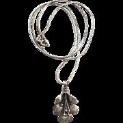 Vintage Sterling Silver Flower Pendant Necklace