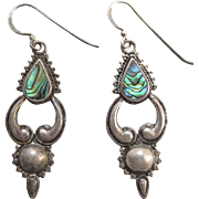 Vintage Mexican Sterling Silver Abalone Dangle Earrings