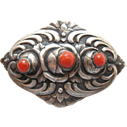 Vintage Mexican Sterling Silver Coral Brooch