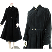 1950's Vintage Black Velvet Swing Coat