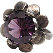 Vintage Taxco Mexican Sterling Silver Lab Created Pink Sapphire Flower Ring Size 6