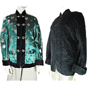 1960's Vintage Chinese Reversible Synthetic Curly Lambswool And Satin Damask Jacket