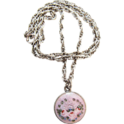 Circa 1930 Vintage Sterling Silver Guilloche Enameled And Painted Pendant Necklace
