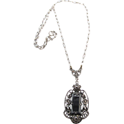 Circa 1930 Vintage Sterling Silver Hematite And Marcasite Pendant Necklace