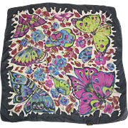 Vintage Glentex Silk Scarf With Butterfly Motif