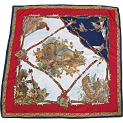 Vintage Silk Scarf With Hunting Motif