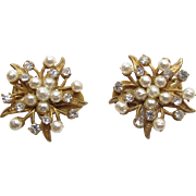Vintage Miriam Haskell Gold - Tone Simulated Pearl And Rhinestone Floral Starburst Clip Back .