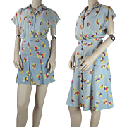 Vintage 1940's Novelty Print Cotton Two - Piece Romper And Skirt Ensemble