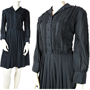 Vintage 1960's Jeanne Dress With Crocheted Trim And Pleated Skirt