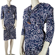 Vintage 1940's Floral Printed Rayon Crepe Dress With Three - Quarter Sleeves