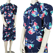 1940's Vintage Floral Printed Rayon Dress