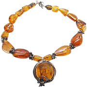Vintage Citlali Mexican Genuine Honey Amber Sterling Silver Pendant Necklace