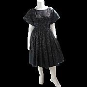 Vintage 1950's Gold Lamé Cocktail Dress With Black Roses