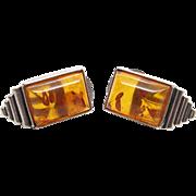 Vintage Sterling Silver Genuine Honey Amber Clip Back Earrings