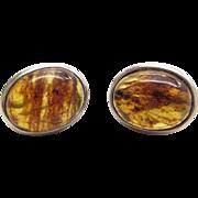 Vintage Sterling Silver Genuine Honey Amber Earrings For Pierced Ears