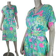 Vintage 1980's Leonard Paris Floral Silk Damask Belted Dress