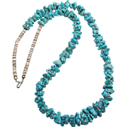 Vintage Native American Turquoise And Heishi Bead Necklace 29 1/4 Inches Long
