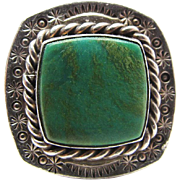 Vintage Native American Stamped Sterling Silver Turquoise Ring Size 7 3/4