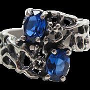 Vintage Sterling Silver Blue Topaz Brutalist Ring Size 7 1/2