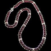 Vintage Garnet And Silver Bead Necklace