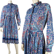 Vintage 1970's Hal Ferman Printed Gauzy Pleated Bohemian Dress