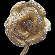 Vintage Nettie Rosenstein Gold-Tone Rhinestone Flower Brooch
