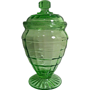 Block Optic - Green Tall Candy Jar by Anchor Hocking
