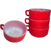 4 Fire King Handle Soup Bowls by Anchor Hocking