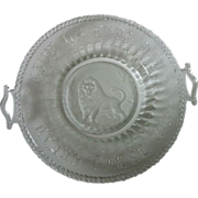 SALE Eapg Frosted Lion Daily Bread Handled Plate