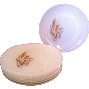 4 Dinner Plates Fire King Wheat by Anchor Hocking
