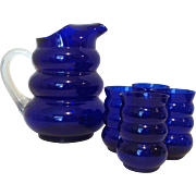 Harpo Cobalt Pitcher & Tumblers by Louie Glass Company 1936