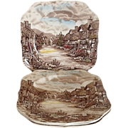 SALE Square Salad / Snack Plate Olde English Countryside by Johnson Brothers